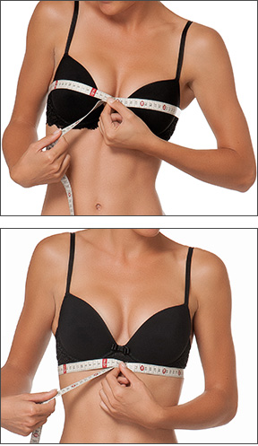Une femme montre comment mesurer la taille d'un soutien-gorge