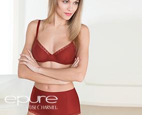 Femme portant l'ensemble lingerie Epure de Lise Charmel