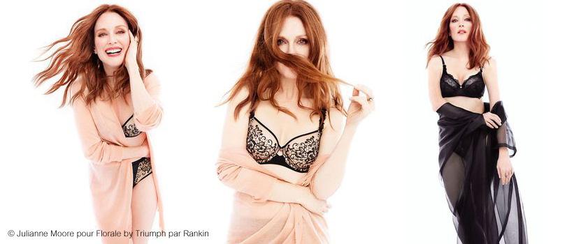 3 portraits de l'égérie lingerie Julianne Moore pour la marque Triumph