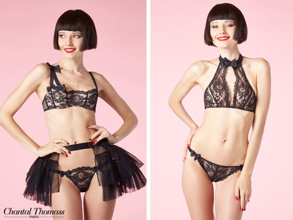 deux silhouettes de mannequin qui portent de la lingerie chantal thomass de la collection nymphea, en dentelle noire soutien gorge asymétrique ou sans armatures avec des noeuds en satin et un tutu
