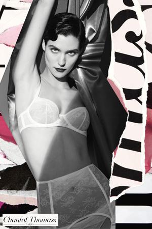 collage par Chantal Thomass dans les tons blancs roses noir et gris avec une mannequin qui porte un ensemble de la collection Encens'moi en dentelle et résille blanc
