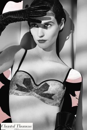 collage de la marque Chantal Thomass dans les tons gris blanc noir et rose pour la collection de lingerie Noeuds et Merveille rétro