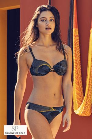mannequin simone pérèle porte maillot de bain deux pièces bikini noir et un peu de couleurs de la collection rio