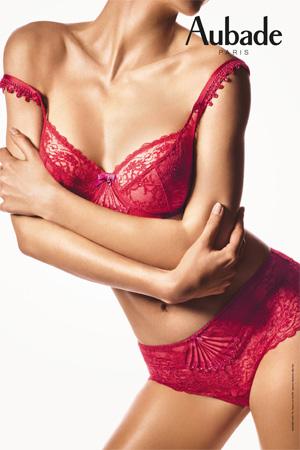 image aubade paris lingerie collection ivresse byzantine en coloris rouge rubis soutien-gorge et slip en dentelle de calais dentelle leavers lingerie sexy