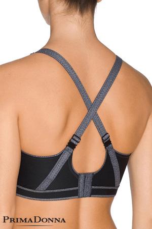 packshot mannequin vue de dos porte brassière de sport de la marque Prima Donna gris et noir collection the sweater sport avec dos bretelles croisées