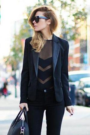femme porte body noir et transparent avec des bandes et un blazer long noir avec col avec un jean style working girl tendance lingerie dessus dessous