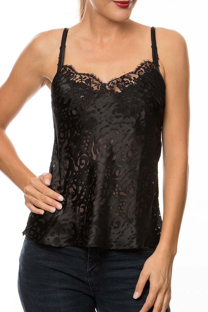 packshot porté sur mannequin caraco noir de la collection dressing floral de lise charmel