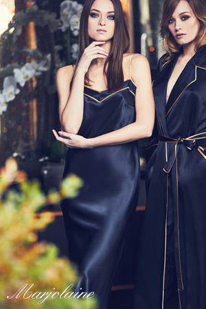 photoshoot automne hiver 2018 2019 marjolaine collection lingerie de nuit haut de gamme luxe en 100% soie chemise de nuit longue en soie bicolore noir doré