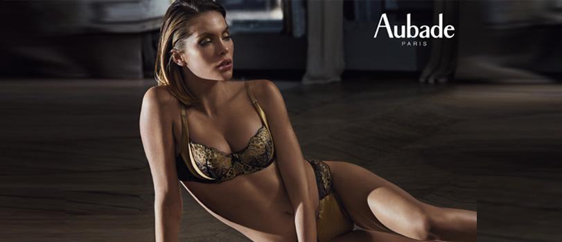 Photo Aubade très sexy collection Femme Glamour en coloris or noir