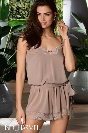 Lise Charmel teddy lingerie de nuit collection raffinement précieux en taupe