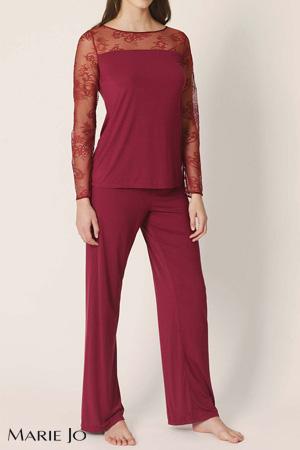 Marie-Jo Haute Lingerie pyjama lingerie agatha rumba red deux pièces pantalon et top manches longues