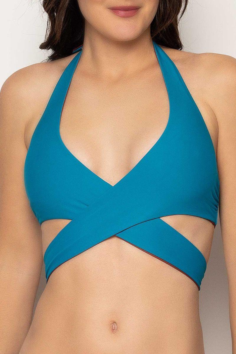 Haut de maillot de bain bleu sexy de la marque Antigel