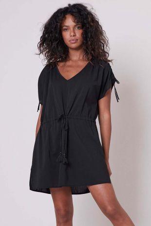 robe tunique de plage Solaire Beachwear noir 01