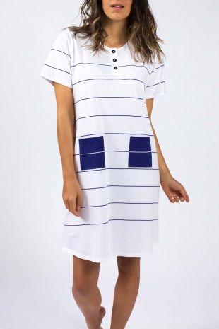 chemise de nuit Lagune blanc rayures 01