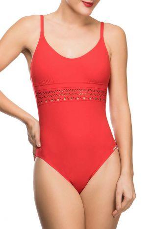 maillot de bain une pièce nageur avec maintien  Lise Charmel Ajourage Couture ajourage carmin rouge ABA9215 1