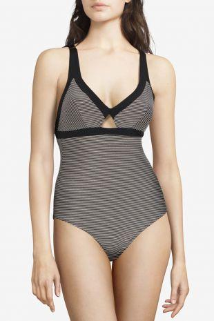 maillot de bain une pièce sans armatures Chantelle Vibrant black lurex rayures C15C40 1
