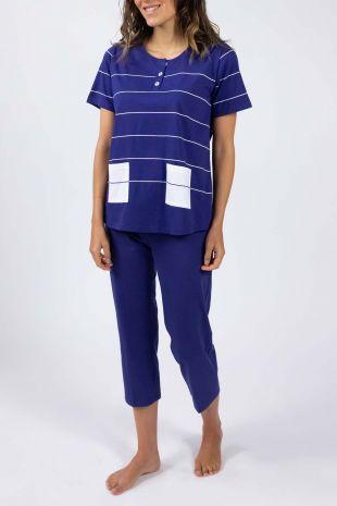 pyjama Lagune marine rayures 01