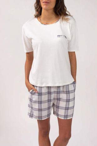 pyjama short Olymp marine carreaux 01