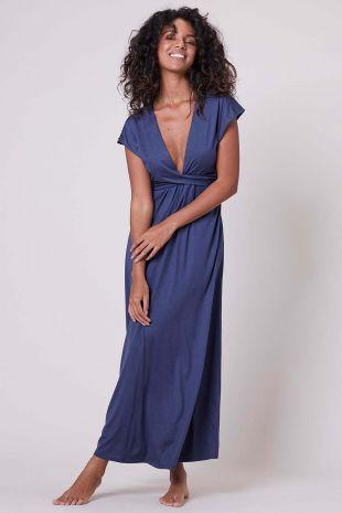 robe longue de plage Portofino Simone Pérèle Beachwear midnight bleu 1DBB98 1