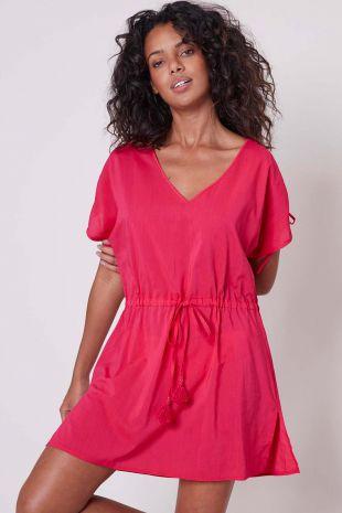 robe tunique de plage Solaire Simone Pérèle Beachwear fushia rose 1DBB91 1