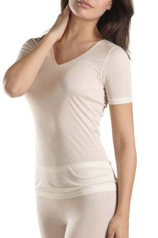 top manches courtes Hanro Pure Silk creme peau 071718 1