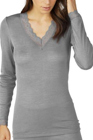 top manches longues Mey Silk Touch Wool mid grey melange gris 66003 1